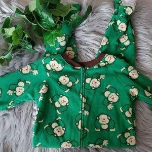 🧸3/$15 Flannel Monkey Footie Pajamas